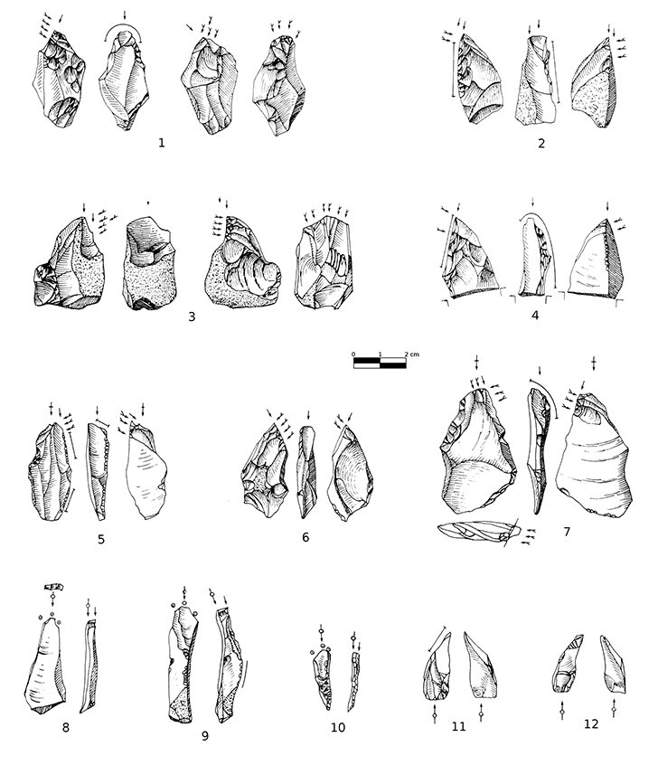 Waste products from the creation of small bladelets at Trou Du Renard, around 36,000 years ago (illustrations from Otte, 1976)